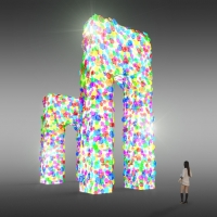 Lotus Gate / drawing for sculpture, 2016<br/> h 6,200 x 7,500 x 3,530 mm / mixed media<br/> The gate made of bright lotus flowers welcomes people.