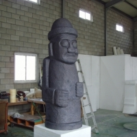 Harubang - a traditional Korean statue<br/>h 1800 x 900 x 800 mm / urethane, Styrofoam, steel / 2012